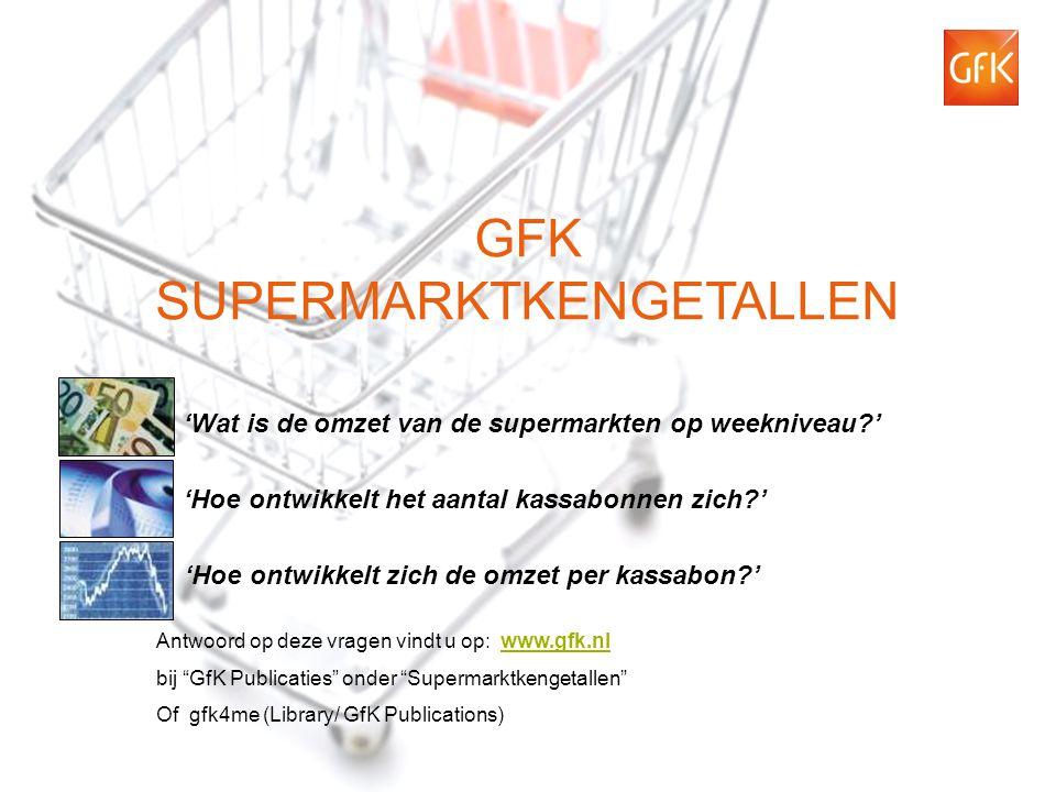 1 © GfK 2012 | Supermarktkengetallen | 19-07-2012 GFK SUPERMARKTKENGETALLEN 'Hoe ontwikkelt het aantal kassabonnen zich ' 'Wat is de omzet van de supermarkten op weekniveau ' 'Hoe ontwikkelt zich de omzet per kassabon ' Antwoord op deze vragen vindt u op: www.gfk.nlwww.gfk.nl bij GfK Publicaties onder Supermarktkengetallen Of gfk4me (Library/ GfK Publications)