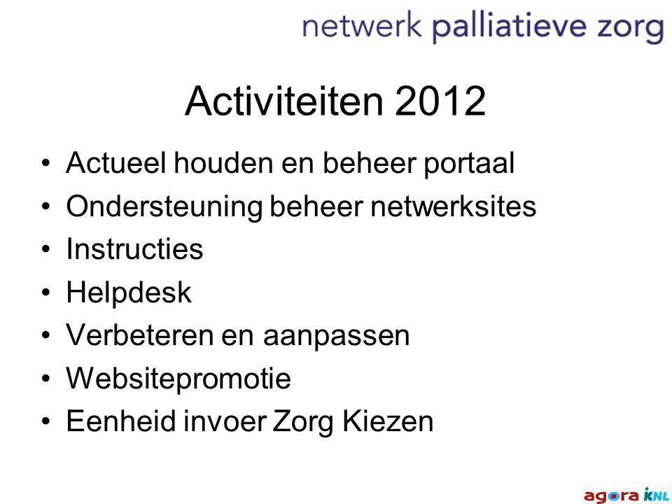 Activiteiten 2012 Actueel houden en beheer portaal Ondersteuning beheer netwerksites Instructies Helpdesk Verbeteren en aanpassen Websitepromotie Eenheid invoer Zorg Kiezen