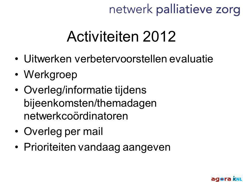 Activiteiten 2012 Uitwerken verbetervoorstellen evaluatie Werkgroep Overleg/informatie tijdens bijeenkomsten/themadagen netwerkcoördinatoren Overleg per mail Prioriteiten vandaag aangeven
