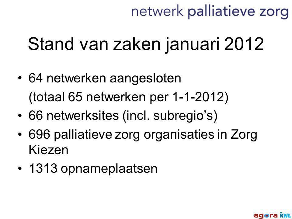 Stand van zaken januari 2012 64 netwerken aangesloten (totaal 65 netwerken per 1-1-2012) 66 netwerksites (incl.