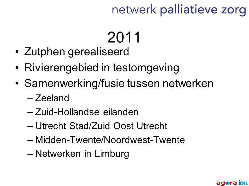 2011 Zutphen gerealiseerd Rivierengebied in testomgeving Samenwerking/fusie tussen netwerken –Zeeland –Zuid-Hollandse eilanden –Utrecht Stad/Zuid Oost Utrecht –Midden-Twente/Noordwest-Twente –Netwerken in Limburg