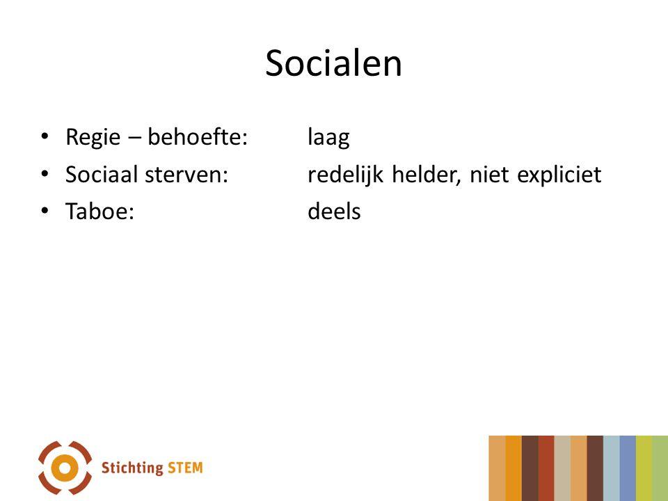 Socialen Regie – behoefte: laag Sociaal sterven:redelijk helder, niet expliciet Taboe:deels