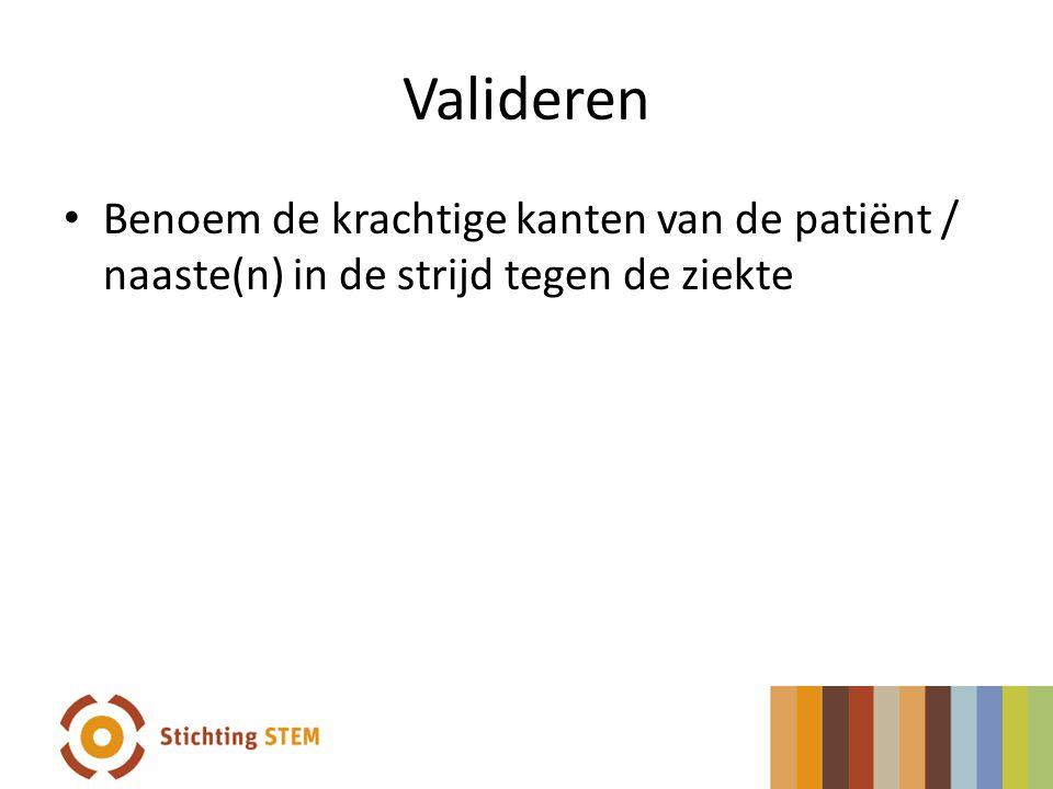 Valideren Benoem de krachtige kanten van de patiënt / naaste(n) in de strijd tegen de ziekte