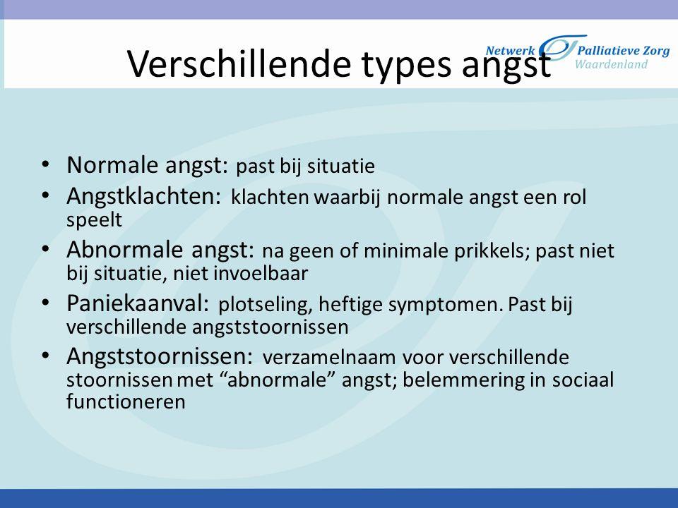 Verschillende types angst Normale angst: past bij situatie Angstklachten: klachten waarbij normale angst een rol speelt Abnormale angst: na geen of mi