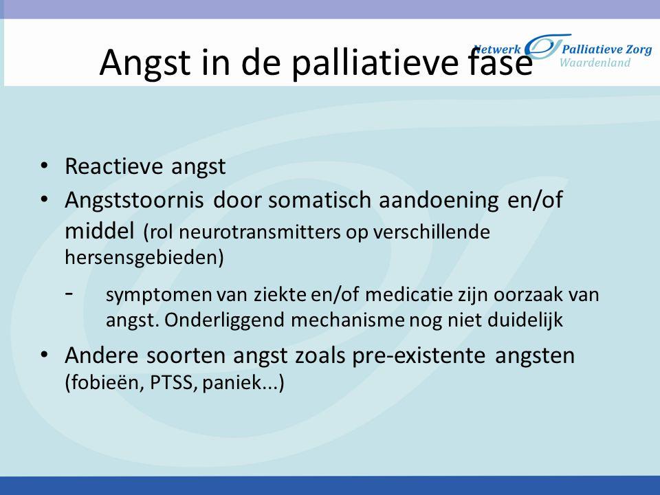 Angst in de palliatieve fase Reactieve angst Angststoornis door somatisch aandoening en/of middel (rol neurotransmitters op verschillende hersensgebie