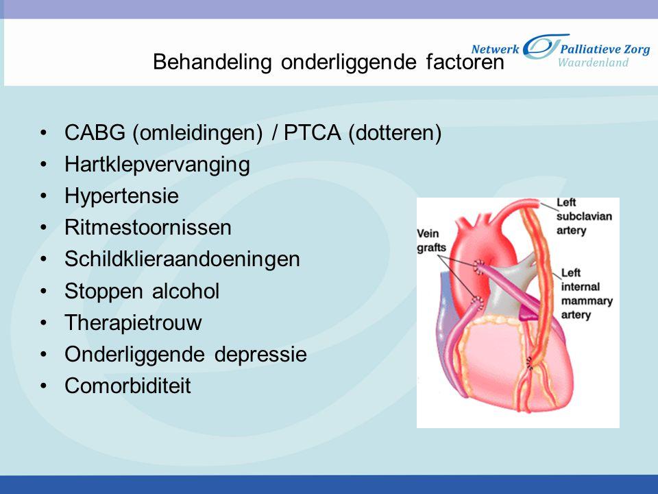Behandeling onderliggende factoren CABG (omleidingen) / PTCA (dotteren) Hartklepvervanging Hypertensie Ritmestoornissen Schildklieraandoeningen Stoppen alcohol Therapietrouw Onderliggende depressie Comorbiditeit