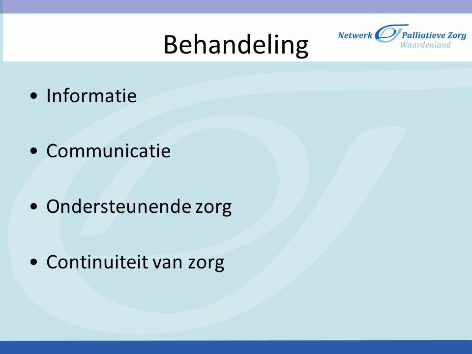 Behandeling Informatie Communicatie Ondersteunende zorg Continuiteit van zorg