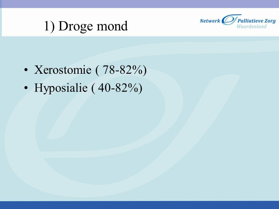 1) Droge mond Xerostomie ( 78-82%) Hyposialie ( 40-82%)