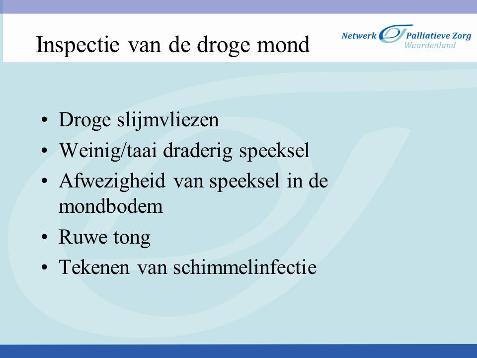 Inspectie van de droge mond Droge slijmvliezen Weinig/taai draderig speeksel Afwezigheid van speeksel in de mondbodem Ruwe tong Tekenen van schimmelinfectie