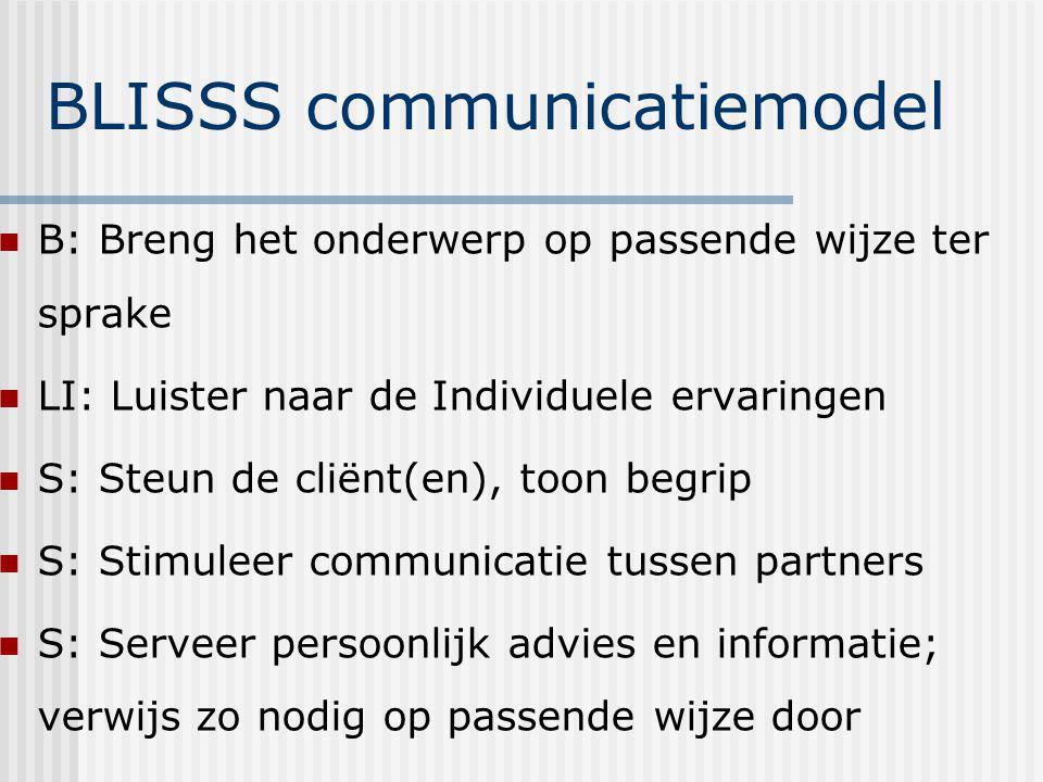 BLISSS communicatiemodel B: Breng het onderwerp op passende wijze ter sprake LI: Luister naar de Individuele ervaringen S: Steun de cliënt(en), toon b