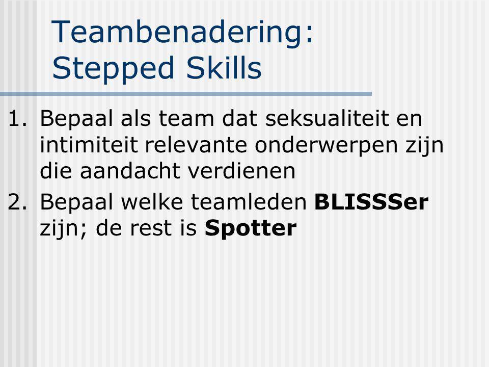 Teambenadering: Stepped Skills 1.Bepaal als team dat seksualiteit en intimiteit relevante onderwerpen zijn die aandacht verdienen 2.Bepaal welke teaml