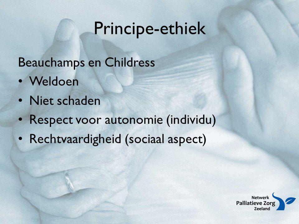 Principe-ethiek Beauchamps en Childress Weldoen Niet schaden Respect voor autonomie (individu) Rechtvaardigheid (sociaal aspect)