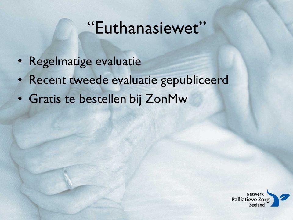 Euthanasiewet Regelmatige evaluatie Recent tweede evaluatie gepubliceerd Gratis te bestellen bij ZonMw