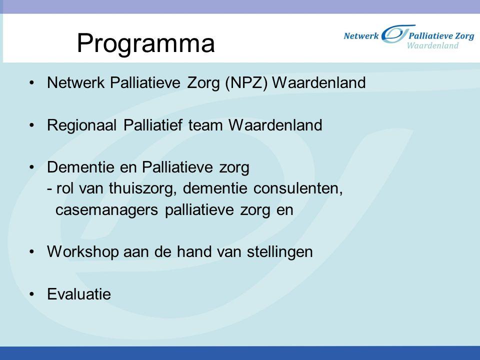 Programma Netwerk Palliatieve Zorg (NPZ) Waardenland Regionaal Palliatief team Waardenland Dementie en Palliatieve zorg - rol van thuiszorg, dementie