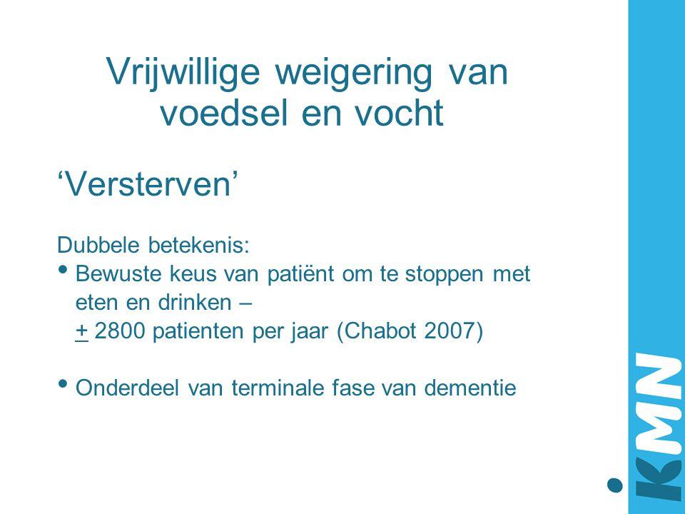 Vrijwillige weigering van voedsel en vocht 'Versterven' Dubbele betekenis: Bewuste keus van patiënt om te stoppen met eten en drinken – + 2800 patient