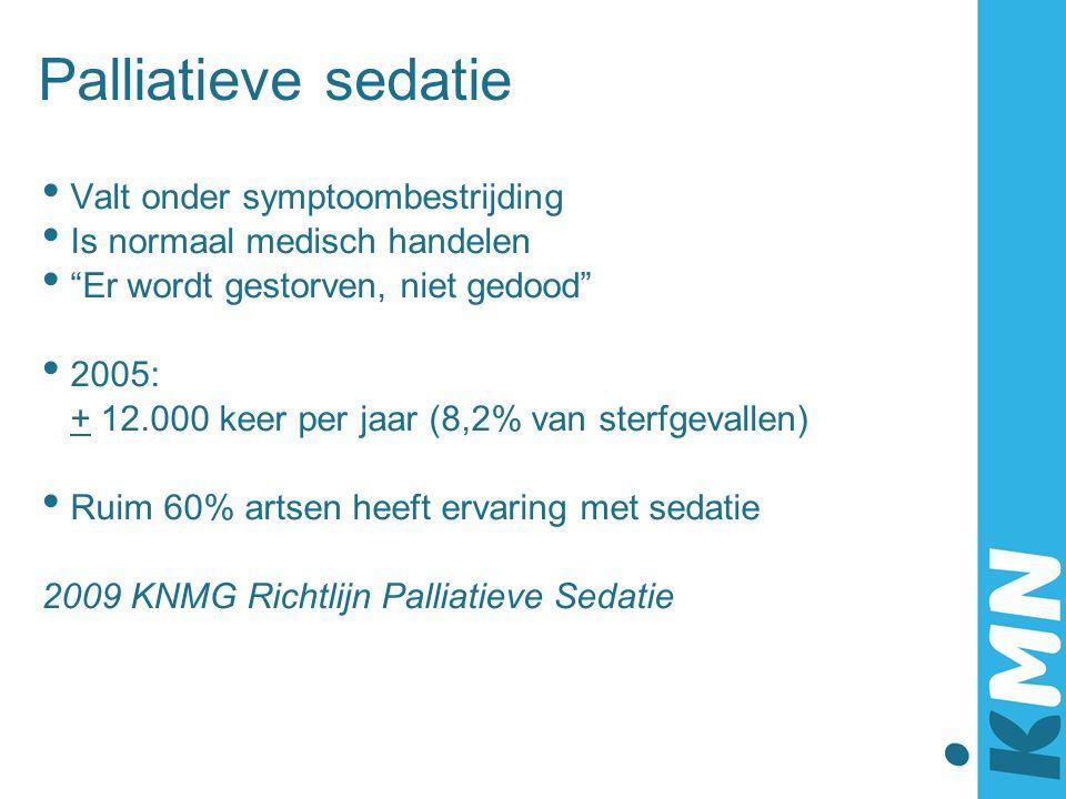"""Palliatieve sedatie Valt onder symptoombestrijding Is normaal medisch handelen """"Er wordt gestorven, niet gedood"""" 2005: + 12.000 keer per jaar (8,2% va"""