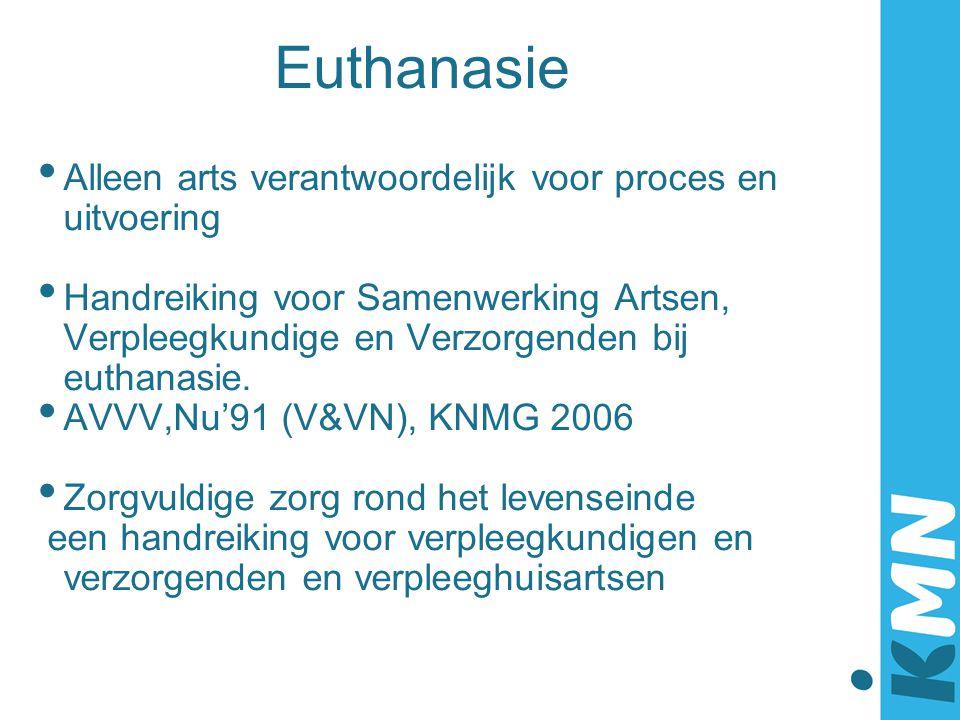 Euthanasie Alleen arts verantwoordelijk voor proces en uitvoering Handreiking voor Samenwerking Artsen, Verpleegkundige en Verzorgenden bij euthanasie