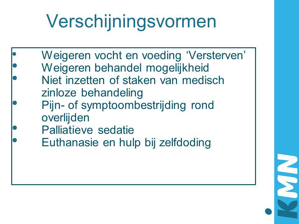 Palliatieve sedatie Valt onder symptoombestrijding Is normaal medisch handelen Er wordt gestorven, niet gedood 2005: + 12.000 keer per jaar (8,2% van sterfgevallen) Ruim 60% artsen heeft ervaring met sedatie 2009 KNMG Richtlijn Palliatieve Sedatie