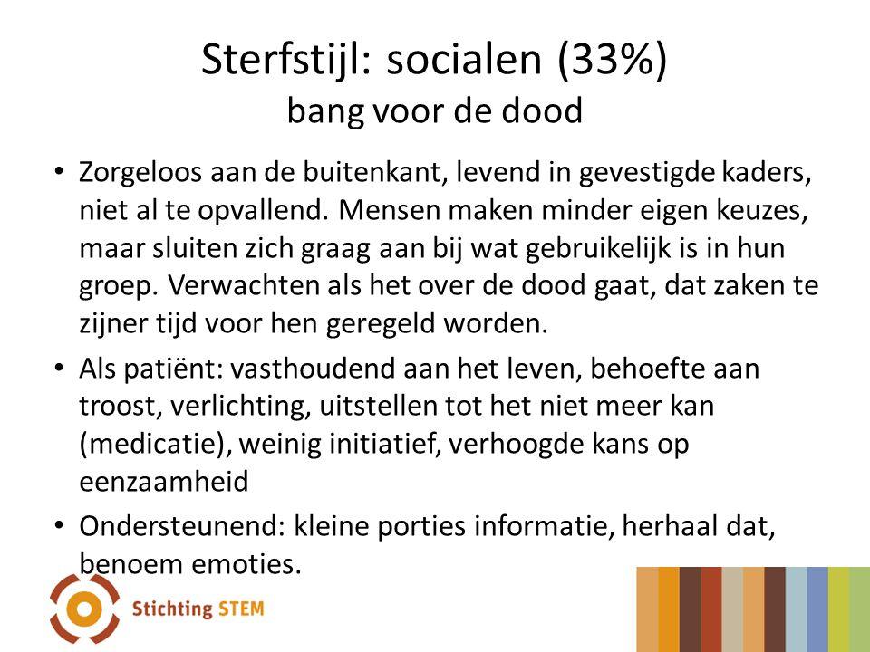 Sterfstijl: socialen (33%) bang voor de dood Zorgeloos aan de buitenkant, levend in gevestigde kaders, niet al te opvallend. Mensen maken minder eigen