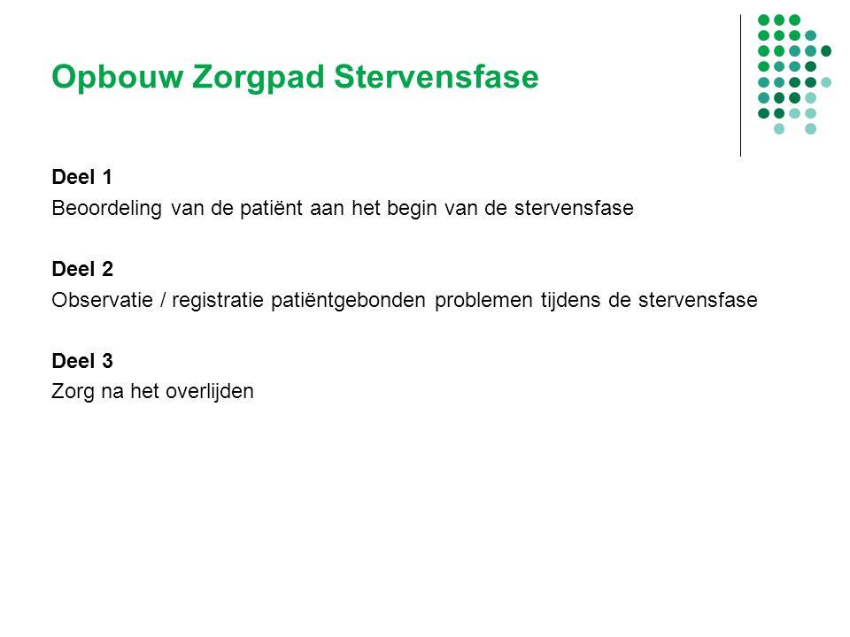 Opbouw Zorgpad Stervensfase Deel 1 Beoordeling van de patiënt aan het begin van de stervensfase Deel 2 Observatie / registratie patiëntgebonden proble