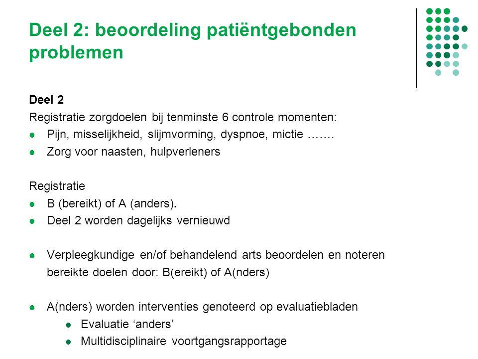 Deel 2 Registratie zorgdoelen bij tenminste 6 controle momenten: Pijn, misselijkheid, slijmvorming, dyspnoe, mictie ……. Zorg voor naasten, hulpverlene