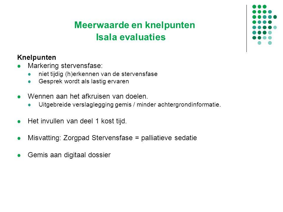 Meerwaarde en knelpunten Isala evaluaties Knelpunten Markering stervensfase: niet tijdig (h)erkennen van de stervensfase Gesprek wordt als lastig erva