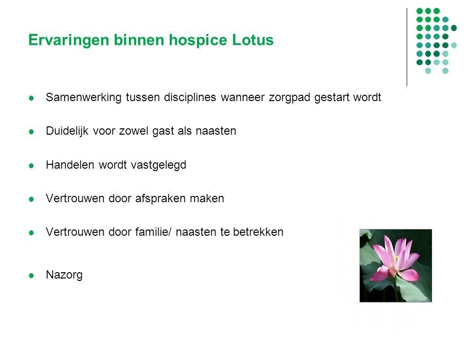 Ervaringen binnen hospice Lotus Samenwerking tussen disciplines wanneer zorgpad gestart wordt Duidelijk voor zowel gast als naasten Handelen wordt vas