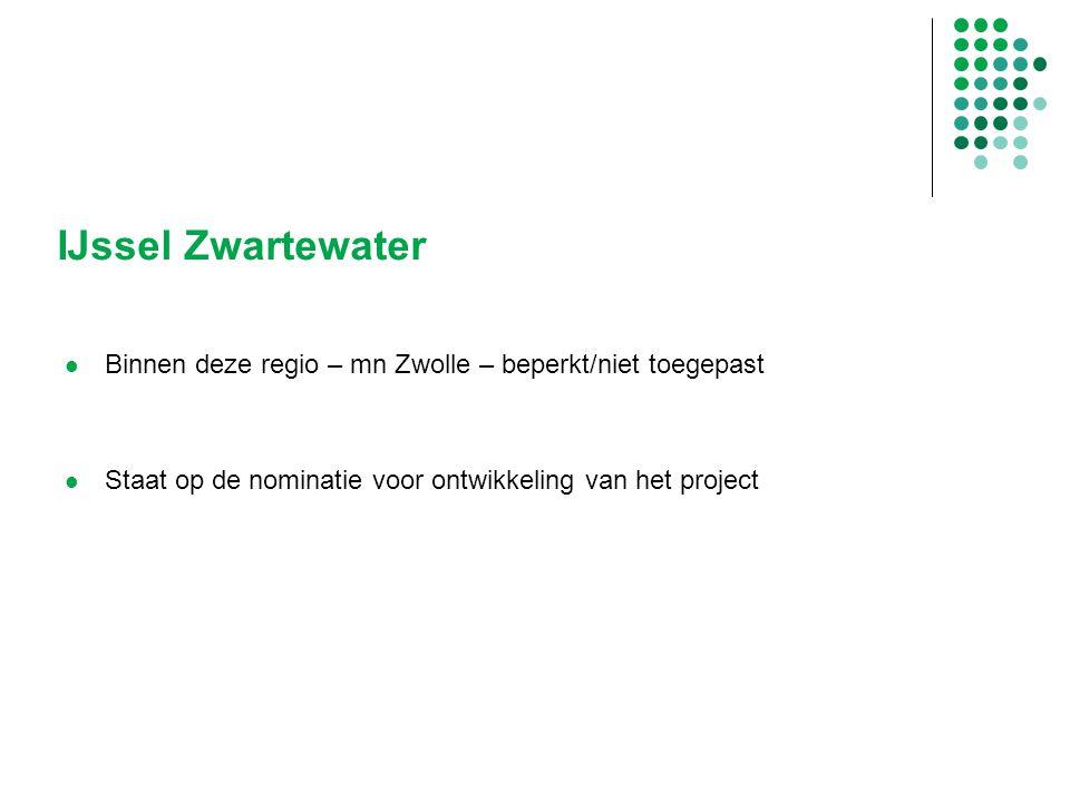 IJssel Zwartewater Binnen deze regio – mn Zwolle – beperkt/niet toegepast Staat op de nominatie voor ontwikkeling van het project