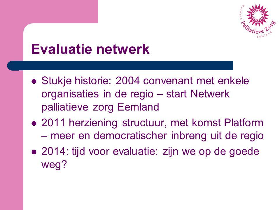 Evaluatie netwerk Stukje historie: 2004 convenant met enkele organisaties in de regio – start Netwerk palliatieve zorg Eemland 2011 herziening structu