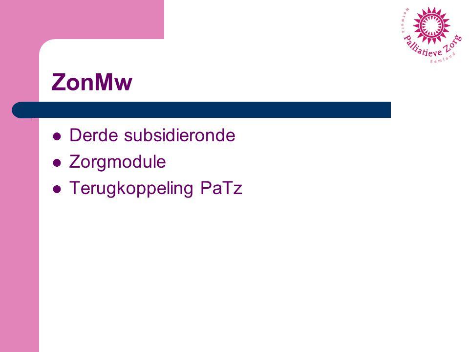 Derde subsidieronde ZonMw heeft van VWS opdracht voor Verbeterprogramma Palliatieve zorg 2012-2016 Doel: verbeteren kwaliteit palliatieve zorg 2014 derde ronde, 2015 laatste ronde Open tot 24 april Kiezen uit www.goedevoorbeeldenpalliatievezorg.nlwww.goedevoorbeeldenpalliatievezorg.nl Onderzoek door NIVEL Max.