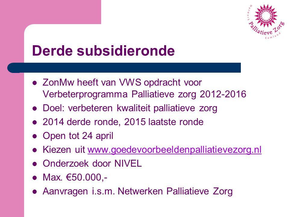 Derde subsidieronde ZonMw heeft van VWS opdracht voor Verbeterprogramma Palliatieve zorg 2012-2016 Doel: verbeteren kwaliteit palliatieve zorg 2014 de