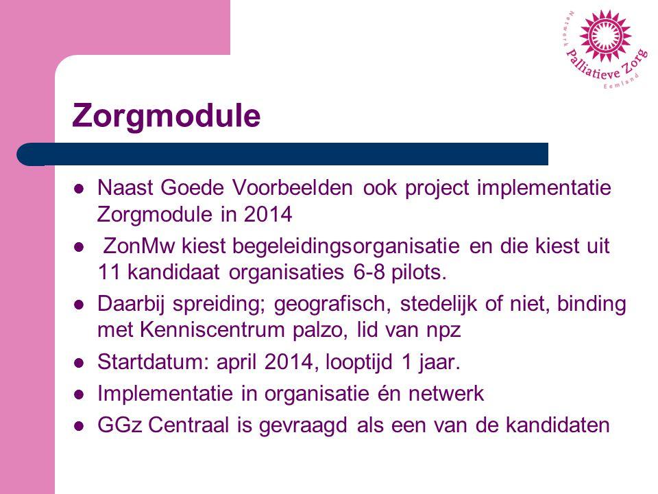 Zorgmodule Naast Goede Voorbeelden ook project implementatie Zorgmodule in 2014 ZonMw kiest begeleidingsorganisatie en die kiest uit 11 kandidaat orga