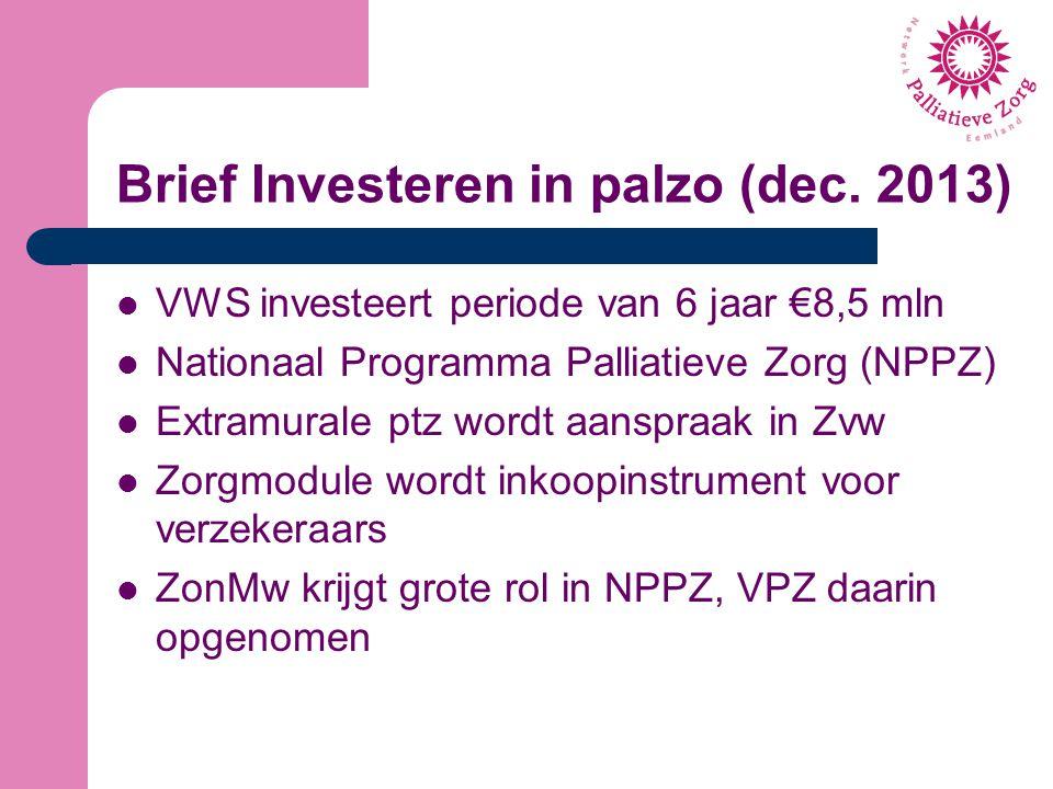 Brief Investeren in palzo (dec. 2013) VWS investeert periode van 6 jaar €8,5 mln Nationaal Programma Palliatieve Zorg (NPPZ) Extramurale ptz wordt aan