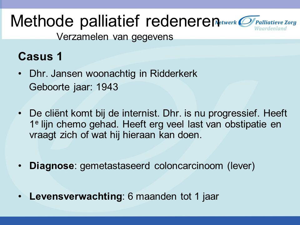 Methode palliatief redeneren Verzamelen van gegevens Casus 1 Dhr. Jansen woonachtig in Ridderkerk Geboorte jaar: 1943 De cliënt komt bij de internist.