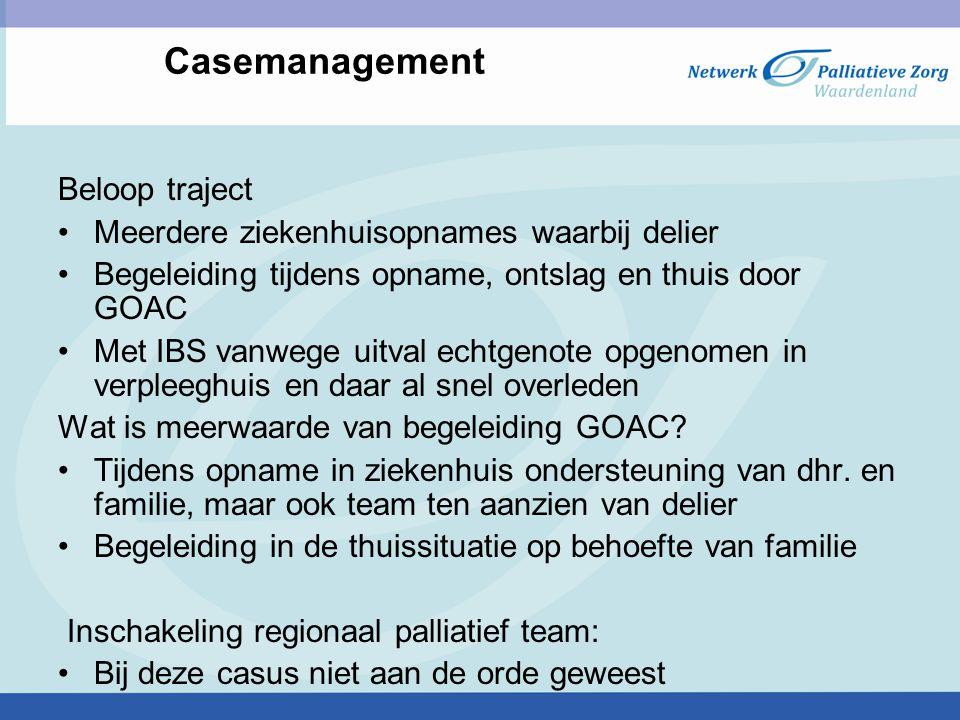 Casemanagement Beloop traject Meerdere ziekenhuisopnames waarbij delier Begeleiding tijdens opname, ontslag en thuis door GOAC Met IBS vanwege uitval
