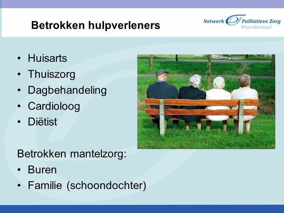 Betrokken hulpverleners Huisarts Thuiszorg Dagbehandeling Cardioloog Diëtist Betrokken mantelzorg: Buren Familie (schoondochter)