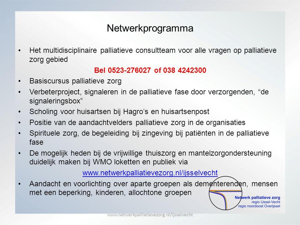 Netwerkprogramma Het multidisciplinaire palliatieve consultteam voor alle vragen op palliatieve zorg gebied Bel 0523-276027 of 038 4242300 Basiscursus