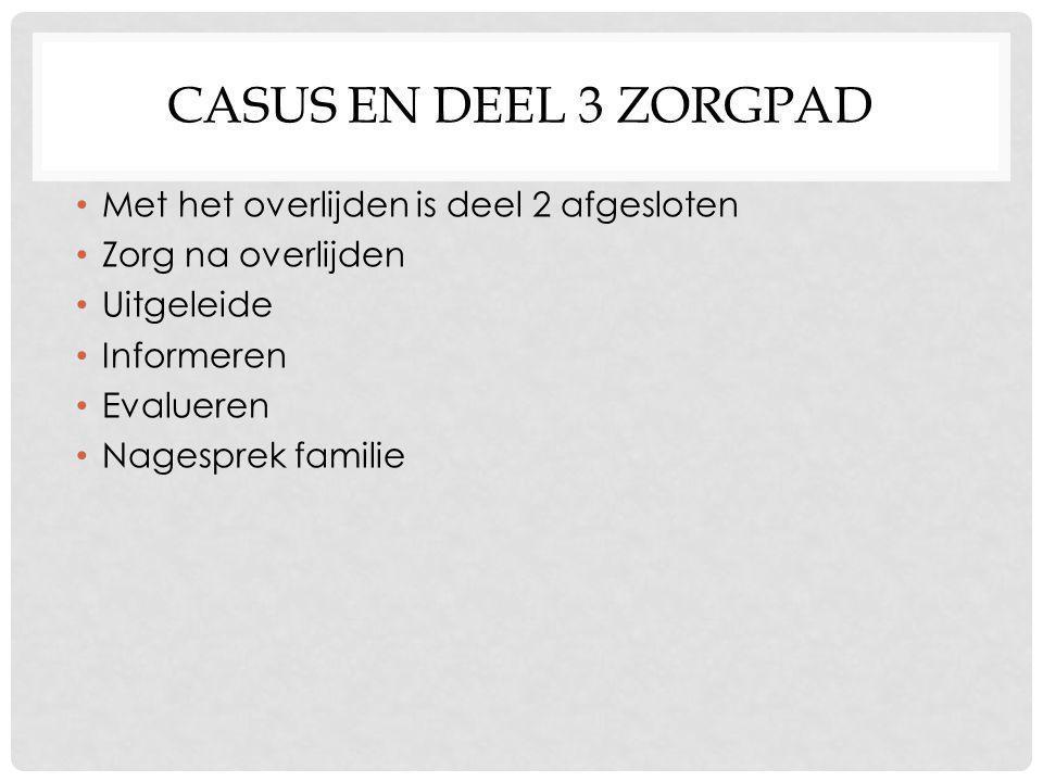 CASUS EN DEEL 3 ZORGPAD Met het overlijden is deel 2 afgesloten Zorg na overlijden Uitgeleide Informeren Evalueren Nagesprek familie