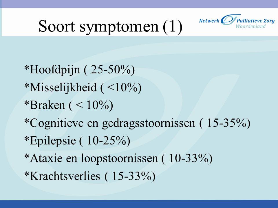 Soort symptomen (1) *Hoofdpijn ( 25-50%) *Misselijkheid ( <10%) *Braken ( < 10%) *Cognitieve en gedragsstoornissen ( 15-35%) *Epilepsie ( 10-25%) *Ata