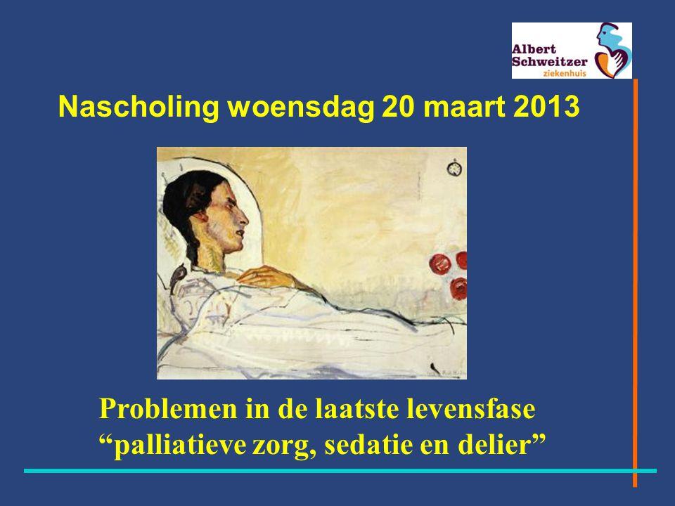 Programma - 18.00 uur Inleiding door Ingrid Daane, huisarts - 18.05 uurVoorstellen leden van de verschillende vakgroepen -18.10 uur Bespreken casus in kleine groepen -19.10 uur Pauze -19.30 uur Inleidingen door: -Adriaan Lemstra, psychiater Het delier in de palliatieve fase -Joan van den Bosch, hemato-oncoloog -Johan Dorst en Dorry Kaars Sijpesteijn, verpleegkundigen transmuraal team -Palliatieve sedatie, doodsimpel?.