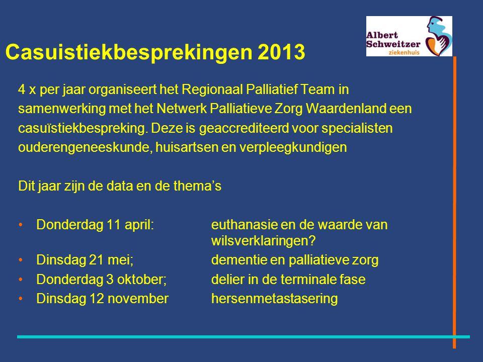 Casuistiekbesprekingen 2013 4 x per jaar organiseert het Regionaal Palliatief Team in samenwerking met het Netwerk Palliatieve Zorg Waardenland een casuïstiekbespreking.