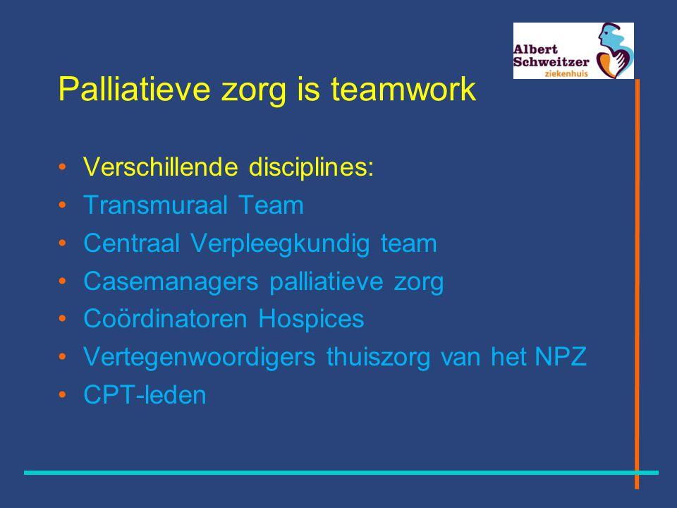 Palliatieve zorg is teamwork Verschillende disciplines: Transmuraal Team Centraal Verpleegkundig team Casemanagers palliatieve zorg Coördinatoren Hospices Vertegenwoordigers thuiszorg van het NPZ CPT-leden