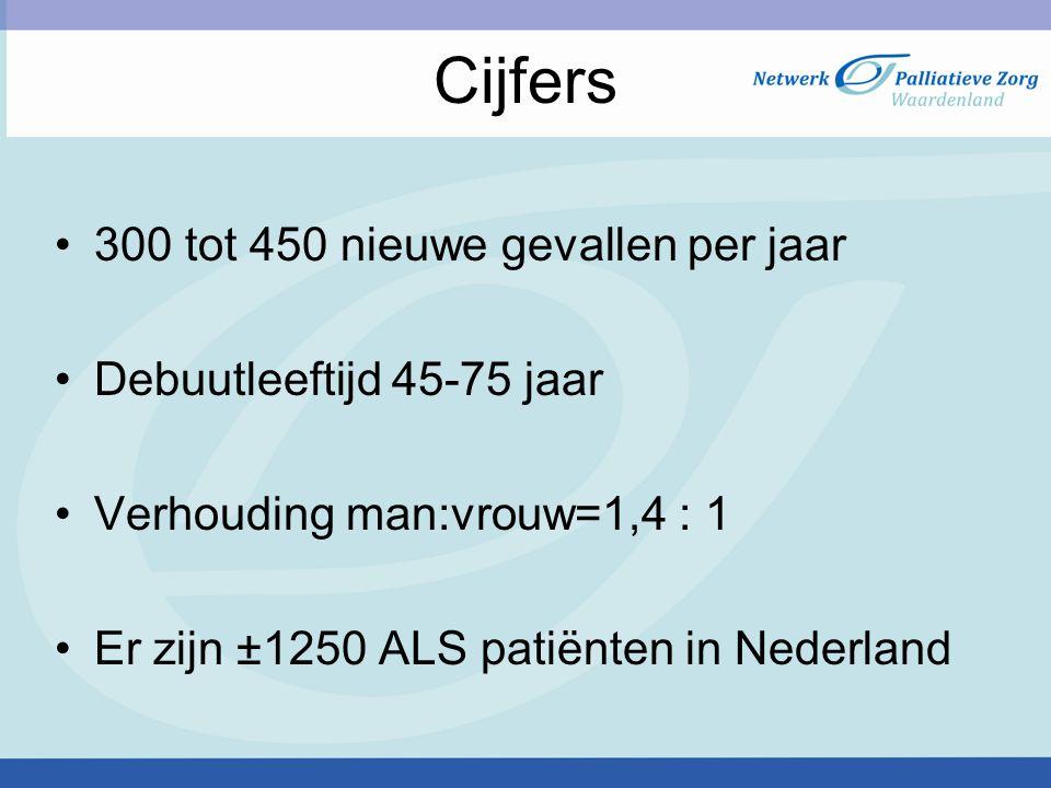 300 tot 450 nieuwe gevallen per jaar Debuutleeftijd 45-75 jaar Verhouding man:vrouw=1,4 : 1 Er zijn ±1250 ALS patiënten in Nederland Cijfers