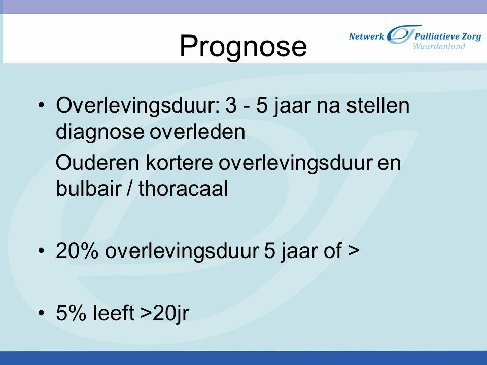 Prognose Overlevingsduur: 3 - 5 jaar na stellen diagnose overleden Ouderen kortere overlevingsduur en bulbair / thoracaal 20% overlevingsduur 5 jaar of > 5% leeft >20jr