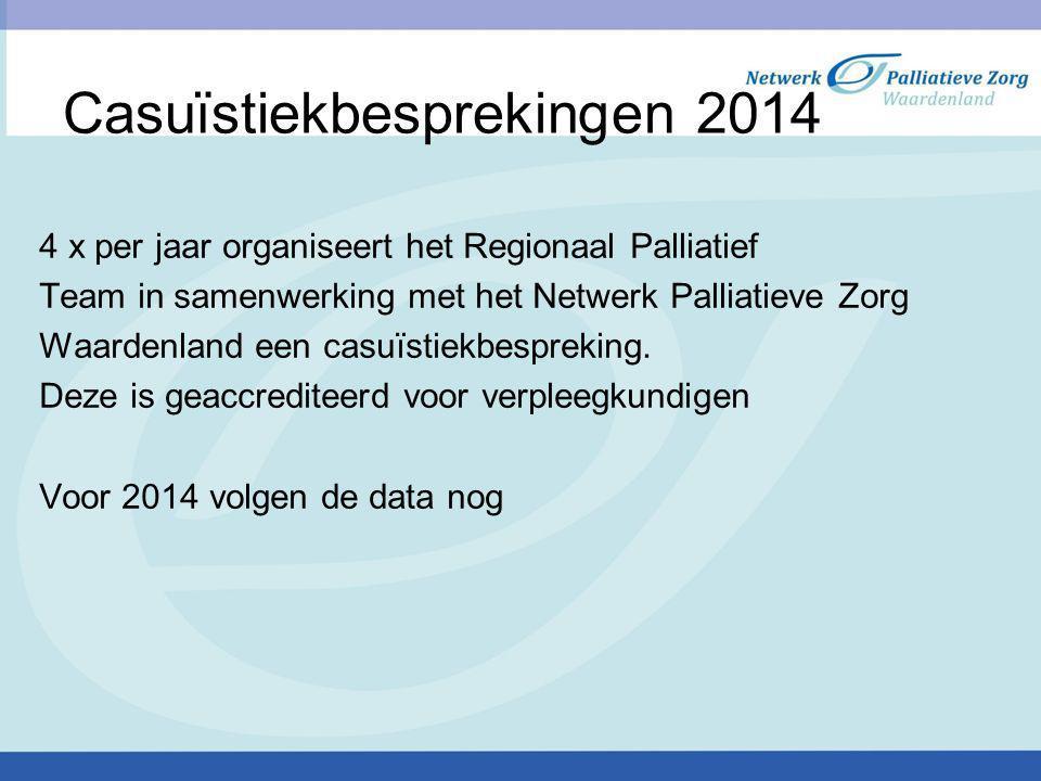 Casuïstiekbesprekingen 2014 4 x per jaar organiseert het Regionaal Palliatief Team in samenwerking met het Netwerk Palliatieve Zorg Waardenland een casuïstiekbespreking.