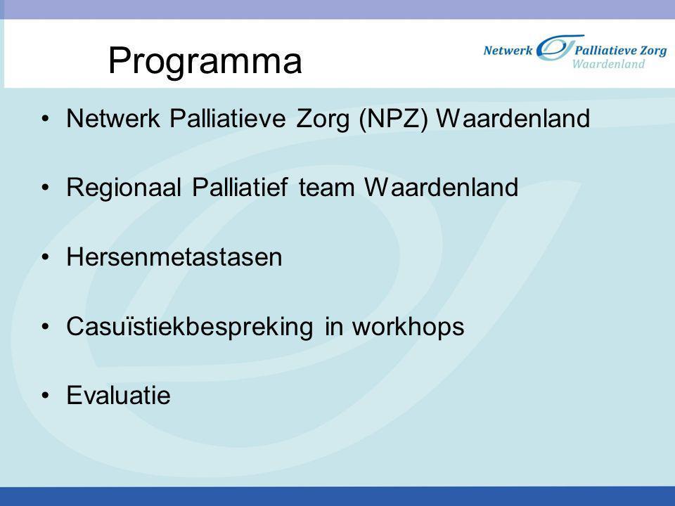 Programma Netwerk Palliatieve Zorg (NPZ) Waardenland Regionaal Palliatief team Waardenland Hersenmetastasen Casuïstiekbespreking in workhops Evaluatie