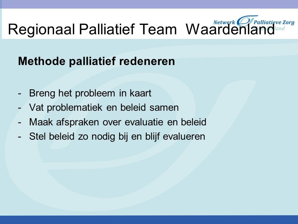 Regionaal Palliatief Team Waardenland Methode palliatief redeneren -Breng het probleem in kaart -Vat problematiek en beleid samen -Maak afspraken over