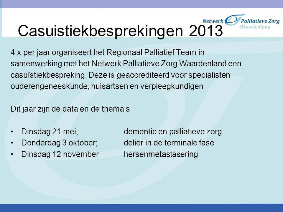 Casuistiekbesprekingen 2013 4 x per jaar organiseert het Regionaal Palliatief Team in samenwerking met het Netwerk Palliatieve Zorg Waardenland een ca