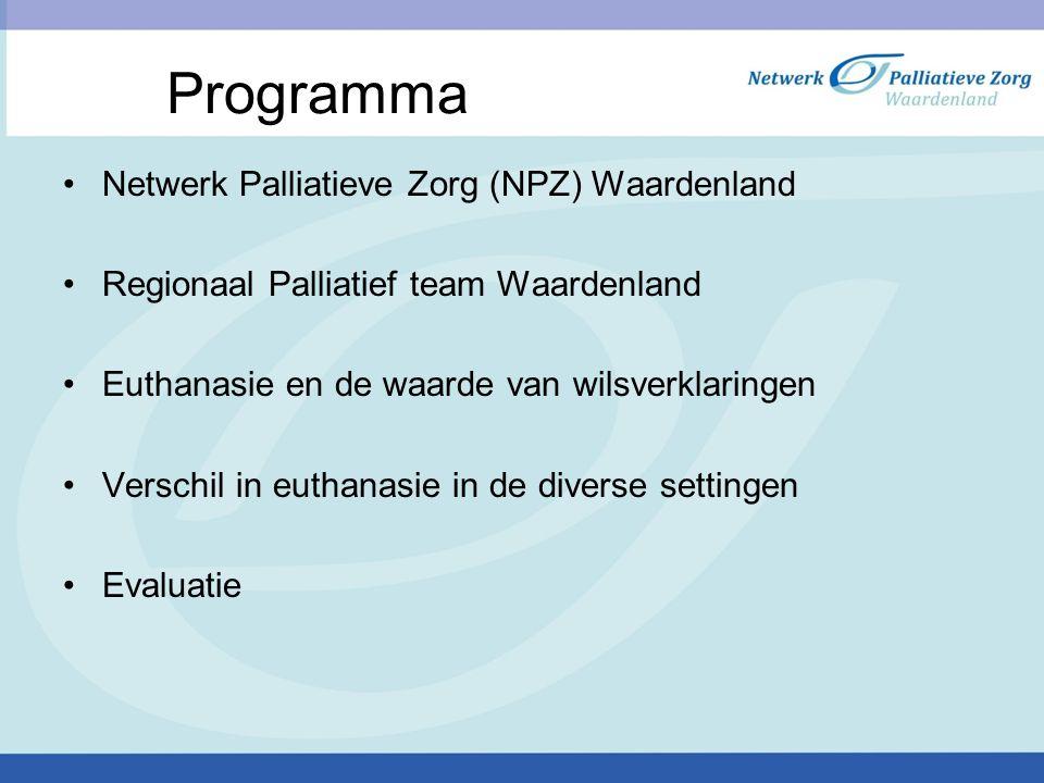 Programma Netwerk Palliatieve Zorg (NPZ) Waardenland Regionaal Palliatief team Waardenland Euthanasie en de waarde van wilsverklaringen Verschil in eu