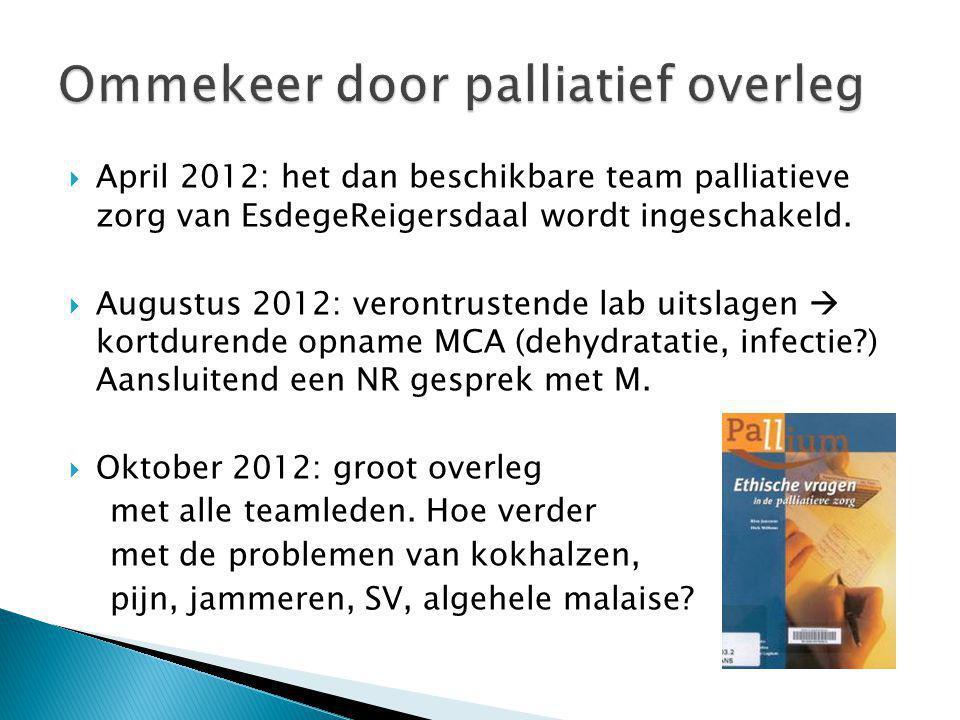  April 2012: het dan beschikbare team palliatieve zorg van EsdegeReigersdaal wordt ingeschakeld.